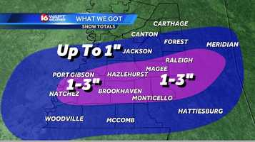 A snowfall total map for the region from Jan. 28.