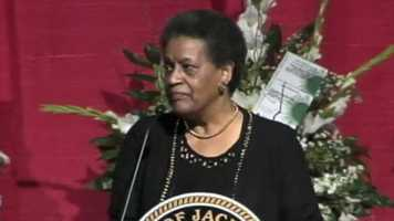 Myrlie Evers Williams speaks at the mayor's funeral.