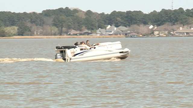 Boat on reservoir