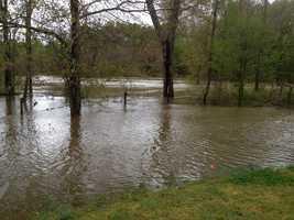 Flooding near the reservoir.