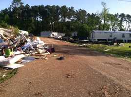 A tornado struck the Highlands Mobile Home Park in Pearl, injuring seven people.