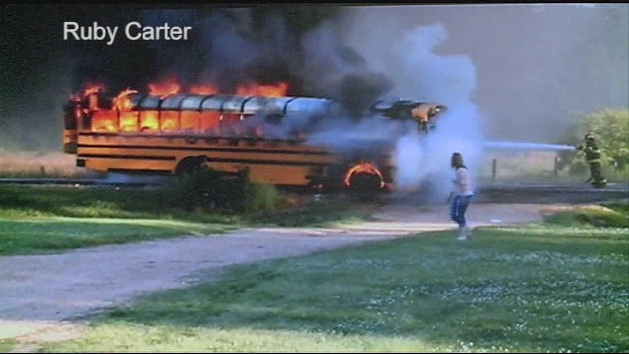 Burning school bus