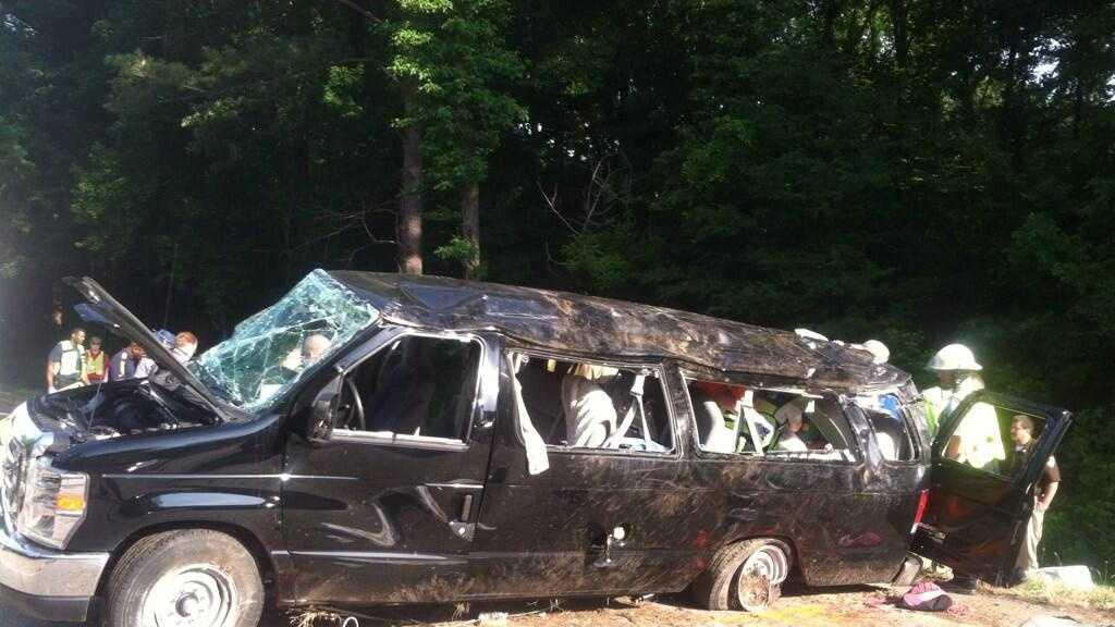 Passenger van crash