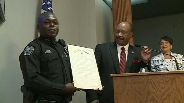 Officer James Edwards is honored by the Hinds County Board of Supervisors.