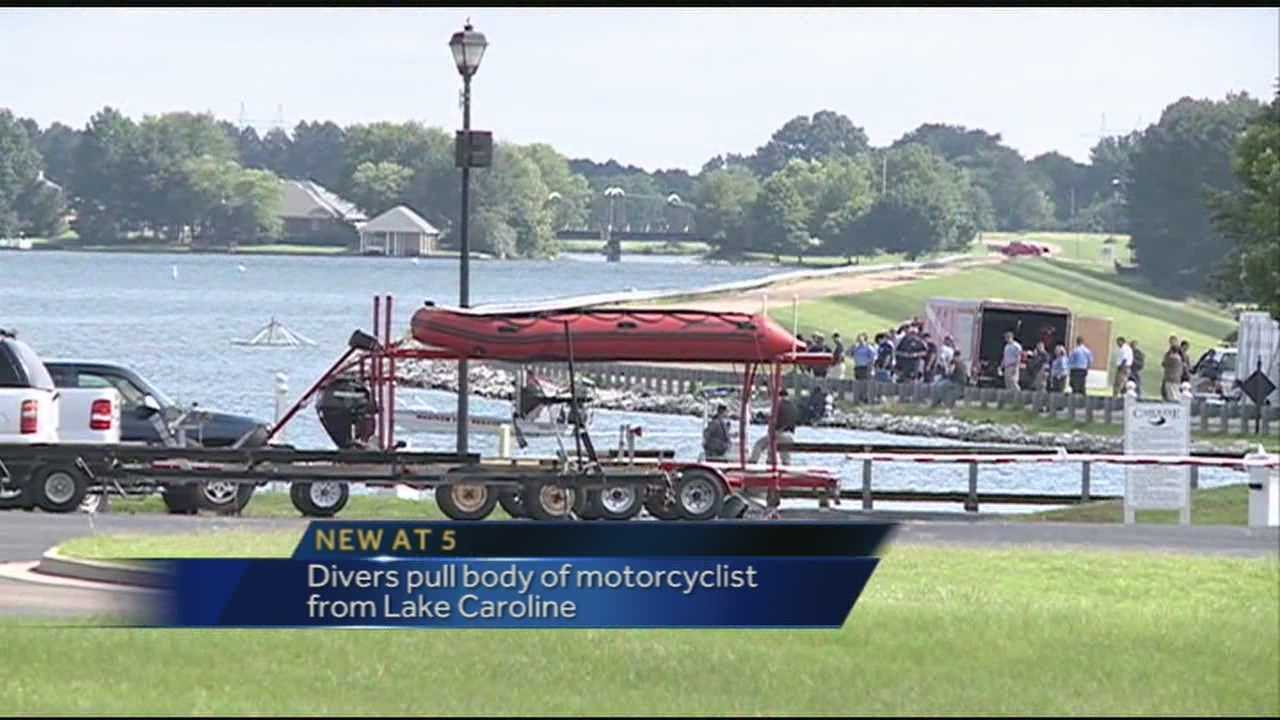 Motorcyclist pulled from Lake Caroline