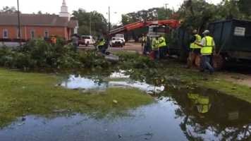 Crews clean up storm damage in Brookhaven.