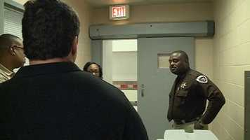 Hinds County Sheriff Tyrone Lewis gives a tour of the upgrades in the Pod C housing unit at the Hinds County Detention Center in Raymond.