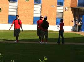 Students wore red Wednesday in honor of Henderson. Red was the 19-year-old's favorite color.