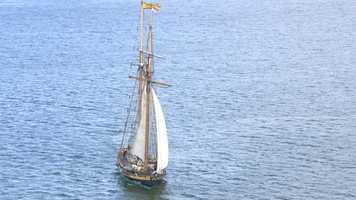 The 157-foot Pride of Baltimore II is a reproduction of an 1812-era Baltimore-built topsail schooner privateer.