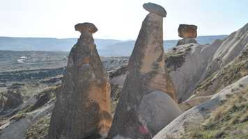 Tim visits Cappadocia, Turkey, where volcanic tufa soil has eroded.