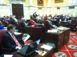 Maryland state Senators debate and vote on the bill Feb. 23.