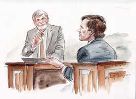 """William Bolton and William """"Mikey"""" Thompson (depicted in sketch), former Huguely teammates and housemates, testified that they saw Huguely back in their apartment shortly after 12:05 a.m. and 12:10 a.m. in the early-morning hours of May 3, 2010, hours before Love's body was found. They testified that Huguely was using the bathroom during the time they saw him."""