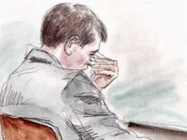 """George Huguely shows emotion while tapes of the police interrogation are played at trial.Huguely was heard on tape crying when police told him Love was dead. He was heard on the tape saying, """"She can't be dead!"""""""