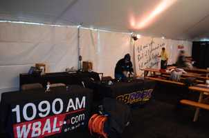 WBAL-AM and 98 Rock sets up to get ready for a long day/night.