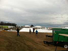 Good thing the forecast says it's going to clear up later in the day Friday, because according to Super Plunger Jennifer Franciotti, the Ice Lodge tent at the Polar Bear Plunge fell down due to a storm right before the first dip!