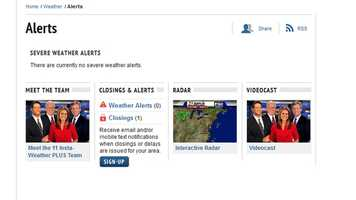 The Severe Weather Alerts page shows the current advisories, warnings and watches as issued by the National Weather Service.