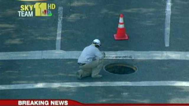 manhole cover explosion on Greene Street