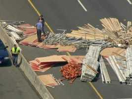 The Washington Boulevard entrance to I-695 was closed during the cleanup.