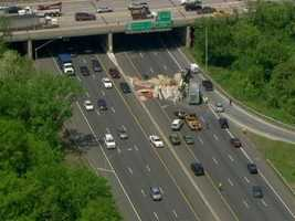 A tractor trailer-crash on the Inner Loop on the south side of the Beltway shuts down the highway near Interstate 95 in the Arbutus area on Thursday.