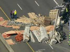 Sky Team 11 video shows debris all over the roadway.