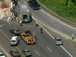 At first, drivers were only getting by via a merging area at the northbound I-95 exit.