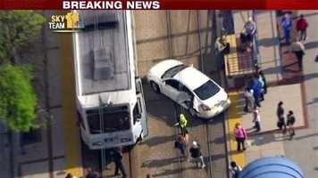 A Light Rail train collides with a car in downtown Baltimore. | SkyTeam 11 Photo