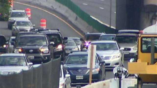 Jones Falls Expressway traffic in construction
