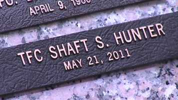 A plaque unveiled Wednesday marks a memorial for Trooper 1st Class Shaft Hunter, who was killed May 21, 2011.