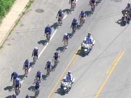 The tour then continues to Ellicott City, where Howard County police officers riding for the fourth time.