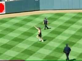 """""""I think that's great. We're here to watch a baseball game, not some idiot jump on the field and make a jerk of himself. But at the same time, it does bring a little entertainment,"""" said Jen Frieda, an Orioles fan."""