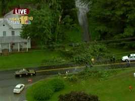 Sky Team 11 got footage of several downed trees in Finksburg, Carroll County.