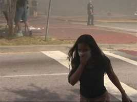 Smoke was seen across many parts of the downtown area.