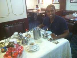 Sheldon at his first meal on the ship!