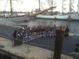 The crew takes a photo op before preparing to set sail.