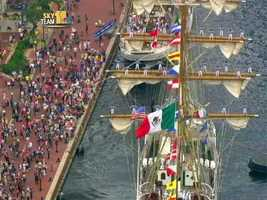 Mexican Navy Tall Ship ARM Cuauhtemoc was the first to leave.