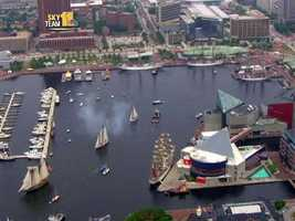 The Pride of Baltimore II fired its cannons at the Inner Harbor in a farewell salute to Charm City.