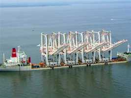 The cranes, which traveled across the Indian and Atlantic oceans to reach Maryland, had been anchored south of Maryland's Chesapeake Bay Bridge since last week.