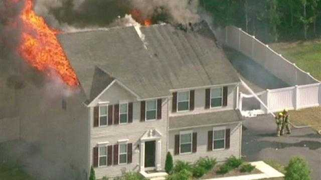 Anne Arundel County fire crews battled a two-alarm fire in Hanover.
