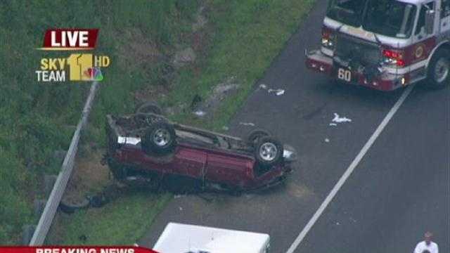 Overturned SUV on I-83
