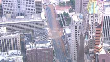 SkyTeam 11 shows a mess running through downtown just as the afternoon rush hour began Monday.