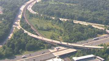 SkyTeam 11 shows the area of Interstate 795 under construction for maintenance as SHA crews replace concrete slabs.