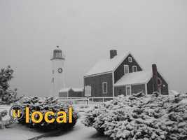 Old Scituate Light in the Snow Scituate, MA