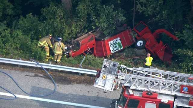 Overturned truck off Route 40