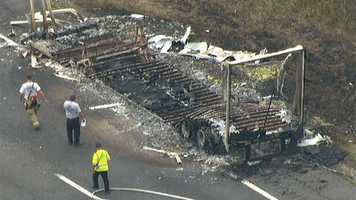 Lewis said the driver managed to separate the truck from the trailer and drive away from the blaze.