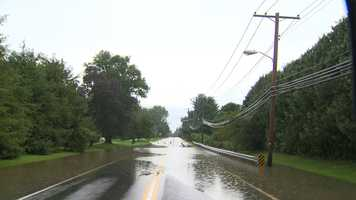 Roads were flooded in the Pikesville area.