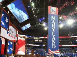 Though traditionally a blue state, Maryland delegates enjoy a close view of the podium.