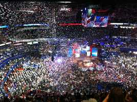 Balloons come down at the Republican National Convention on its last night.
