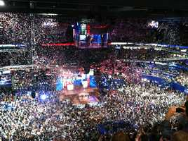 Balloons come down at the Republican National Convention on its final night in Tampa.