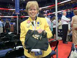 Ellen Sauerbrey shows off a GOP elephant purse.