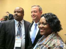 Gov. Martin O'Malley with two members of the Maryland delegation at the delegation breakfast on Tuesday.